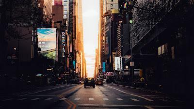 Sunset City wallpaper, buildings, street, street, cars
