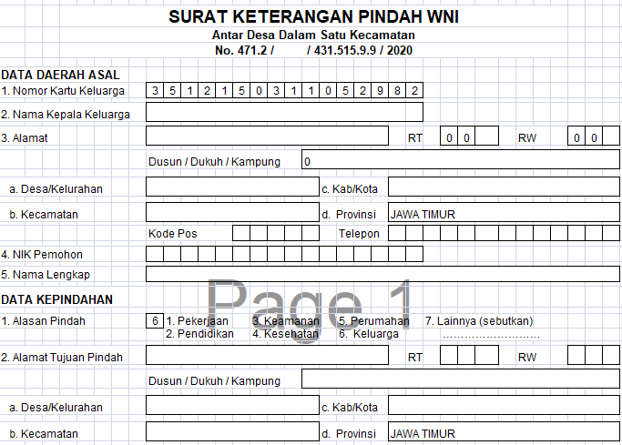 Form Surat Pindah Penduduk dari Desa/Kelurahan