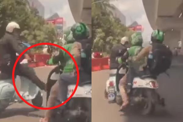 Anak Vespa Tendang Motor Ojol, Diduga Tak Terima Kena Senggol, Videonya Viral