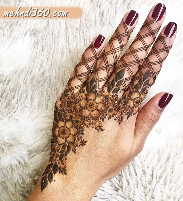 Cross Mehndi Design for Back Hand