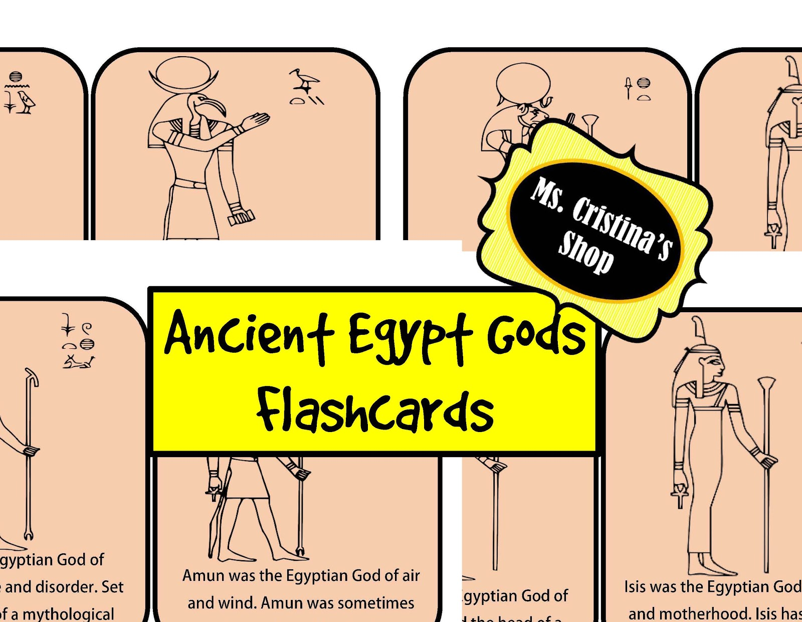 The Hermit Crabs Homeschool Ancient Egyptian Gods Flashcards