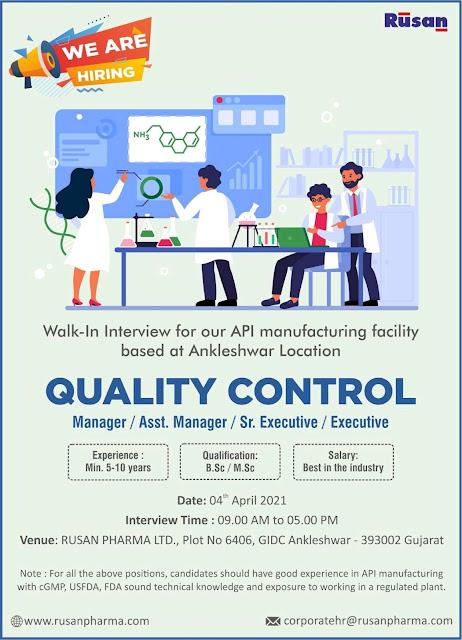 Bsc/ Msc Jobs Vacancy Walk-ln Interview for Rusan Pharma Ltd Api Manufacturing Facility Based at Ankleshwar, Gujarat Location