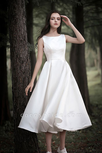 Graceful Sleeveless Satin A-line Wedding Dress