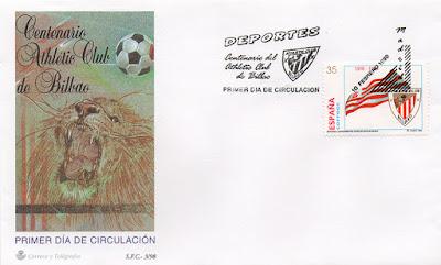 filatelia, sello, matasellos, sobre, Athletic, Bilbao, Centenario