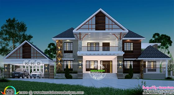 Sloping roof style luxurious house with separate car porch