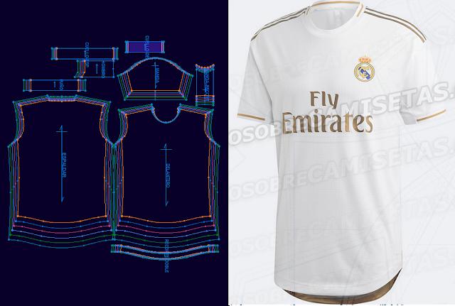 e2d7e1af2 Patrones Moldes Real Madrid titular versión jugador temporada 2019 2020