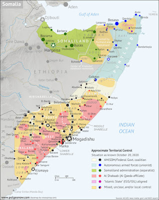 Somalia control map from October 2020. Shows territorial control by Federal Government of Somalia (FGS), Al Shabaab, so-called Islamic State (ISIS/ISIL), separatist Somaliland, autonomous state Puntland, and boundaries of additional federal member states Galmudug, Jubaland, South West, and Hirshabelle. Colorblind accessible.