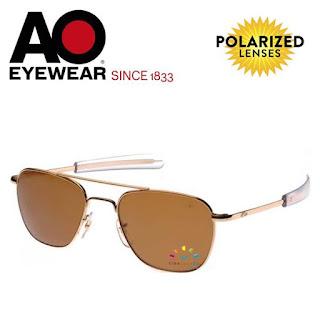 AO Original Pilot Aviator Sunglasses (57mm Gold, Polarized Cosmetan® Brown)