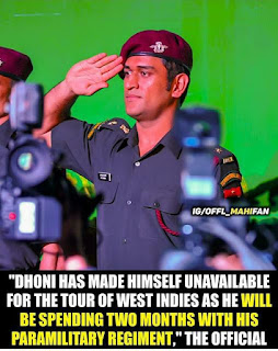 Joining Parachute Regiment of territorial reserve for next a pair of months: MS Dhoni tells BCCI