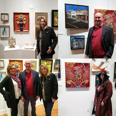 Merrill Weber's artist friends Carla Schaeffer, Michael Riley-Hill and Lynnette Shelley at the grand opening of Paragon Framing and Art in Phoenixville, PA