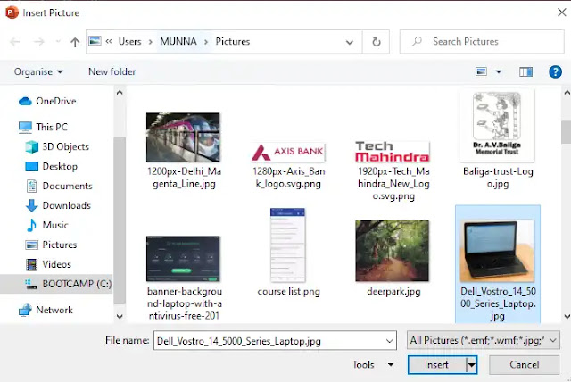 In the Insert Pictures window, locate and select the photo to add to the presentation
