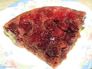 Tarta cu visine la tigaie reteta rapida la zepter sau prajitura rasturnata cu fructe proaspete retete desert de casa tarte prajituri mancare,