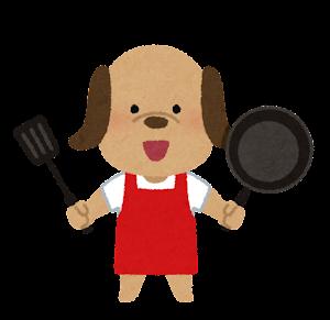 料理をする動物のキャラクター(犬)