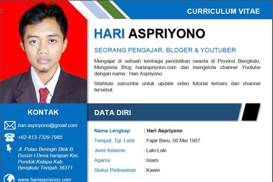 Download Curriculum Vitae Daftar Riwayat Hidup Format Microsoft Word Tutup Kurung