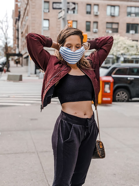Nyc fashion blogger Kathleen Harper showing how to make a bandana face mask.