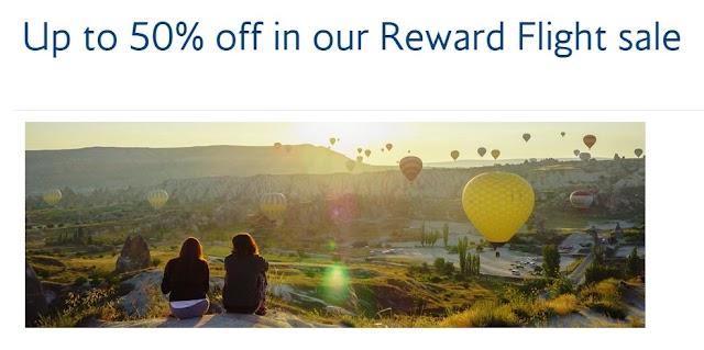 British Airways Offers 25%-50% off Rewards Flight