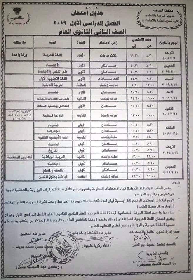 جدول امتحانات الصف الثالث الاعدادي 2019 محافظة الشرقية