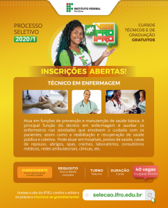O IFRO está com inscrições abertas para curso de técnico subsequente em enfermagem noturno