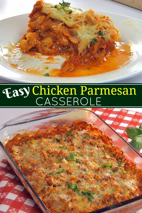 Easy Chicken Parmesan Casserole is a one-dish dinner that's easy to prepare and incredibly family-friendly!  Everything you love about Chicken Parmesan you will find in this belly warming 'dump and go'
