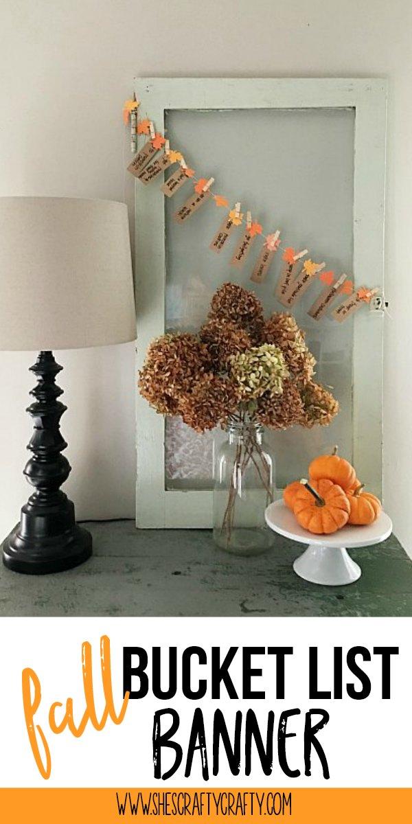 fall banner, fall bucket list, cardstock banner, hydrangeas, pumpkins