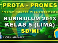 Prota dan Promes Kelas 5 SD/MI Kurikulum 2013 Tahun Pelajaran 2020 - 2021