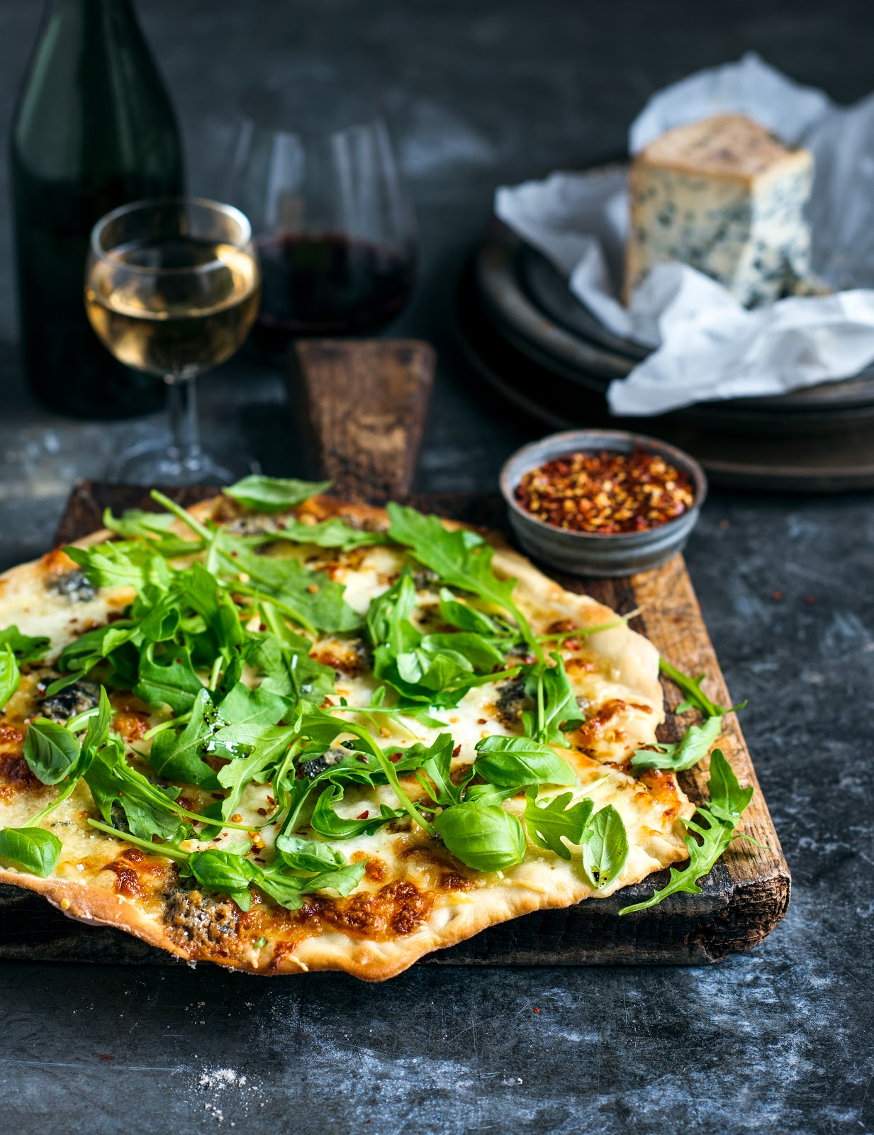 from the kitchen loaded four cheese pizzas with chilli rocket lemon. Black Bedroom Furniture Sets. Home Design Ideas