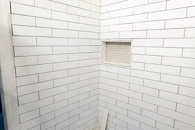 subway tile niche tiling progress shower master bath