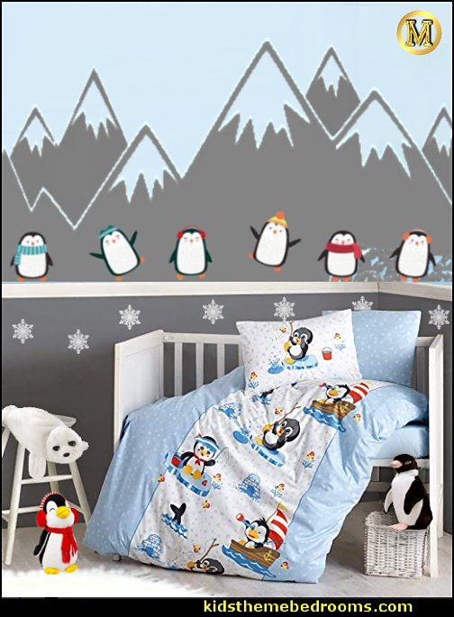 Penguin Nursery Baby Bedding penguin wall decal stickers  snowflake wall decals Winter penguin plush