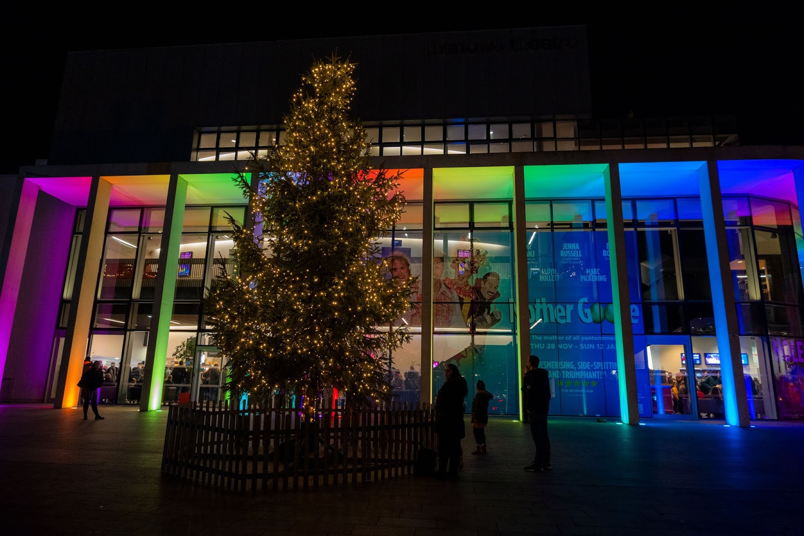 Christmas tree outside the Marlowe Theatre, Canterbury