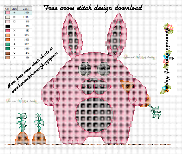 Big Pink Hungry Bunny Free Cross Stitch Design to Download