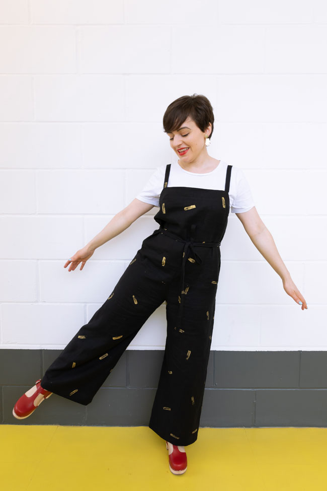 Tilly's Gold Potato-Printed Safiya Dungarees - sewing pattern in Make It Simple
