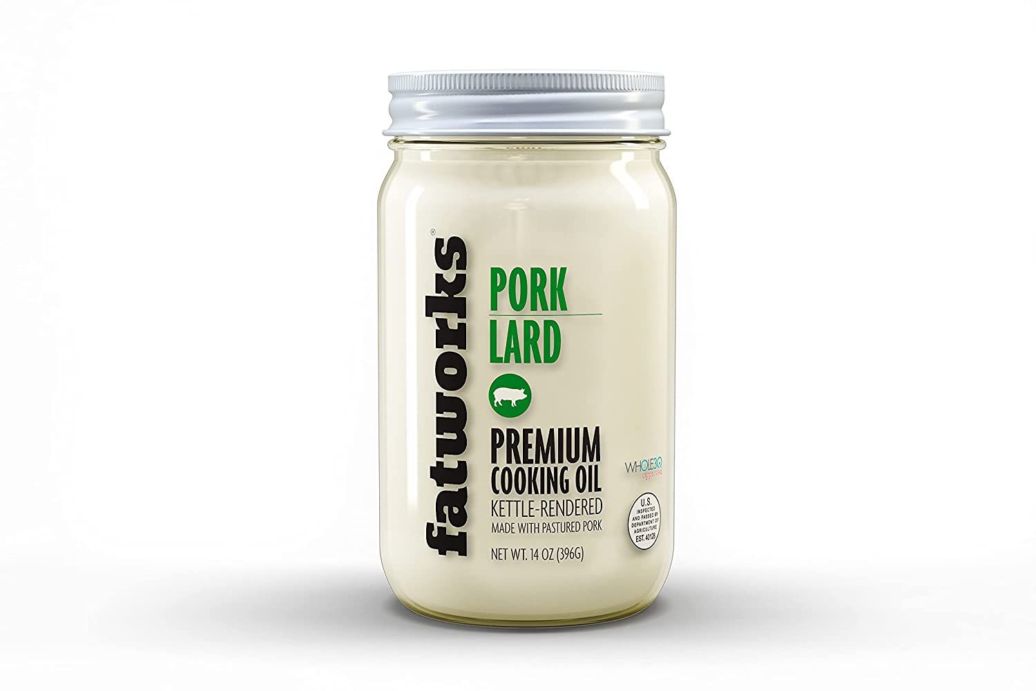 Fatworks Premium Pasture Raised Lard. The Original Non-Hydrogenated Pasture-Raised Lard crafted for Traditional, Keto, and Paleo Chefs. Artisanally Rendered, WHOLE30 APPROVED, Glass Jar, 14oz.  $35.95 BUY     IngredientsPasture Raised NON-GMO Rendered Pork Fat, Organic Rosemary Extract (0.1%) BrandFatworks Weight14 Ounces Item Dimensions LxWxH3 x 6 x 4 inches Package Weight4 Pounds    About this item THE ORIGINAL PREMIUM PREMIUM PASTURE RAISED LARD: This was the first nationally sold Non-Hydrogenated, Preservative Free, Pasture Raised Pork Lard. Sourced exclusively from sustainable and regenerative U.S. Small Family Farms. Crafted for fat-loving chefs, Keto, Paleo, WAP, AIP followers and especially for those that value quality above all. Artisanally rendered small kettles for (and by) fat-fanatics. Use as the perfect substitute to industrialized seed oils and cheap, inhumanely sourced lards. FAT FOR THOSE WHO VALUE QUALITY FIRST: Since 2010 we crafted the first ever preservative free, fine filtered, glass jarred, Pasture Raised for who understand that high quality animal fats are an essential (and delicious) part of a healthy lifestyle. Since then, Fatworks has been the go-to fat for fat loving chefs as well as the Paleo, Primal, Keto, Carnivore, Whole30 WAP, and AIP and has spawned many imitators. PRAISE THE LARD: Delicious and versatile cooking fat that is perfect for sautéing, roasting, frying and baking. Lift your homesteader style cooking or KETO, PALEO, WAP, AIP and WHOLE30 cooking to new levels, or use it as a natural shortening for incredible baking. We suggest roasted veggies and greens, authentic tortillas, re-fried beans, fried chicken, pies, traditional biscuits, confit, marinades and dressings. Makes the perfect lard for the homesteader or traditional lard soap maker. USDA CERTIFIED AND TESTED: 100% USDA Certified Pasture Raised Pork Lard. No artificial ingredients, no added hormones, no preservatives, and no antibiotics. We add .%01 Organic Rosemary Ex
