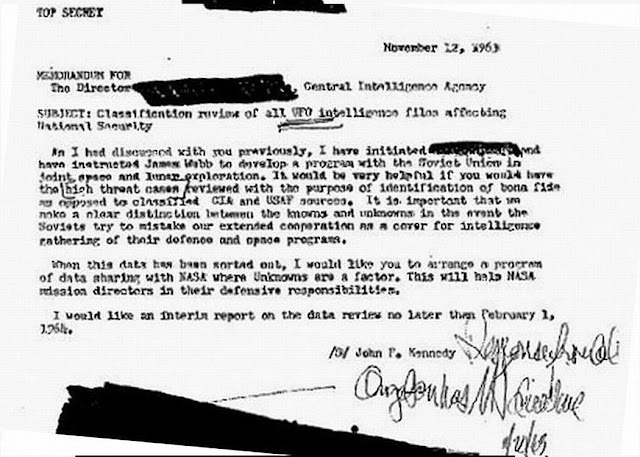 Memorndum JFK a la CIA: solicitando informacion de los OVNIS