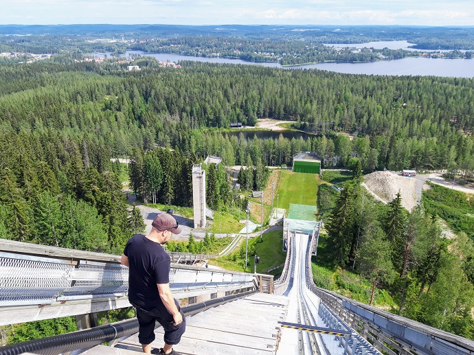 Matti Nykäsen mäen näkötorni ja mäkikahvio / Laajavuoren hyppyrimäki / nähtävyys kesällä 2019