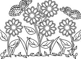 Flower And Butterfly Coloring Sheet