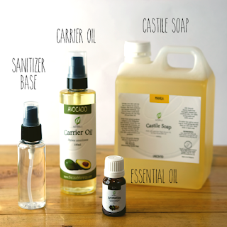 Castile Soap, Essential Oil, Carrier Oil and Sanitizer Set
