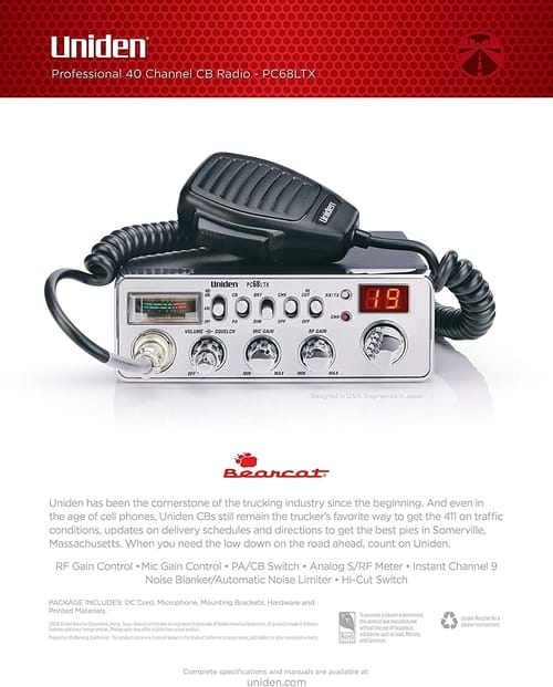 Uniden PC68LTX 40-Channel CB Radio with PA/CB Switch