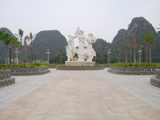 sculpture at Panlong Lake Scenic Area in Yunfu