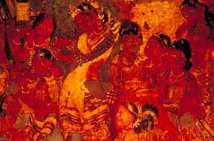 The people celebrating the coronation of Mahajanaka, Ajanta