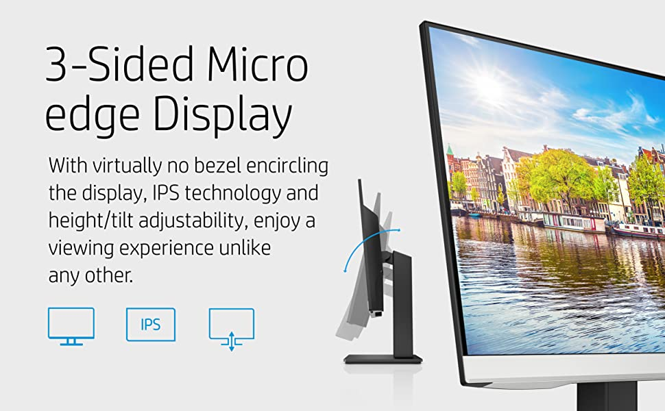 HP 24mh FHD Monitor - Computer Monitor with 23.8-Inch IPS Display (1080p) - Built-In Speakers
