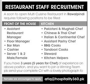 Multi Cuisine Restaurant Jobs 2021 in Pakistan - Pakistani Chef Jobs 2021 - Chinese Chef Jobs 2021 - Thai Chef Jobs 2021 - Italian Chef Jobs 2021 - Online Apply - atiq@hospitality360.pk