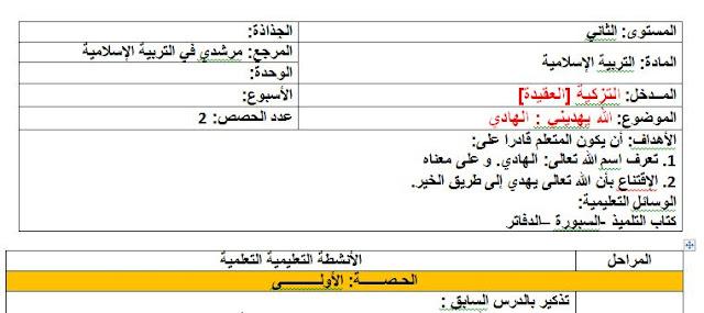 جذاذات مرشدي في التربية الاسلامية-الجزء الأول