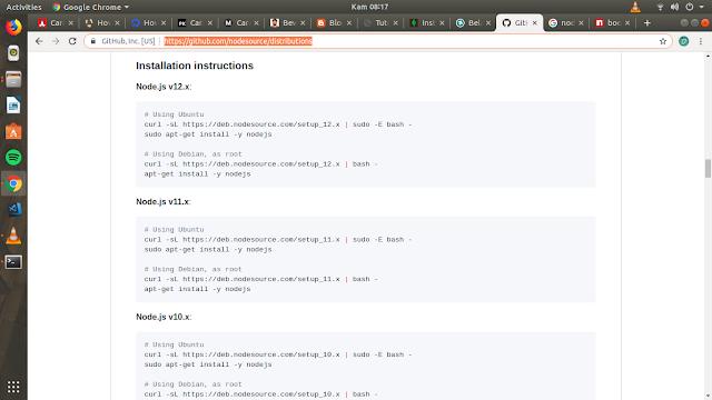 link github untuk install nodejs dan npm