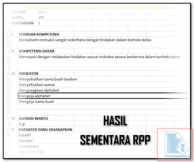 Tampilan RPP Pada Aplikasi Cetak RPP Silabus Otomatis Format Excel.Xls