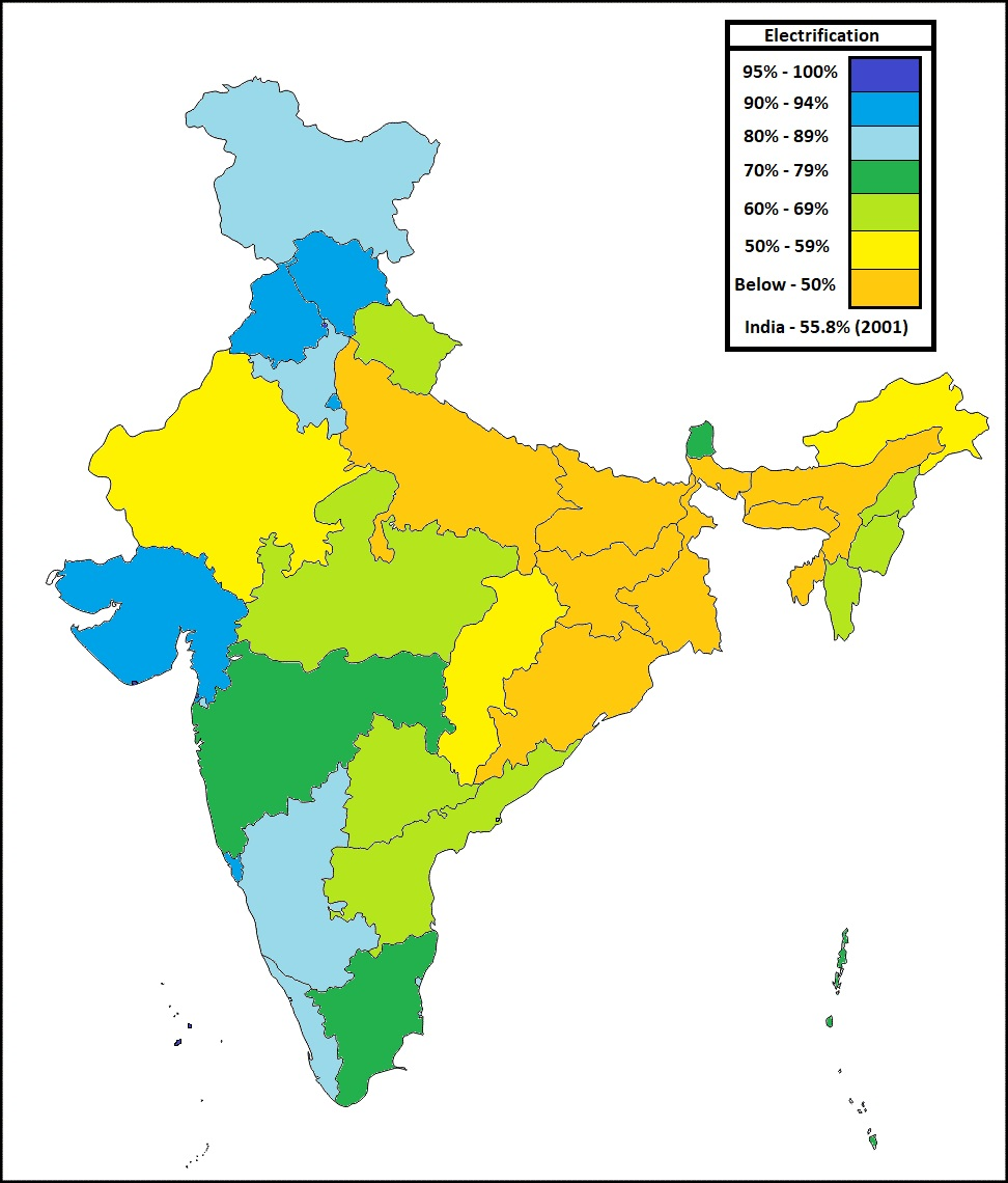 electrification of households in india maps and international relations