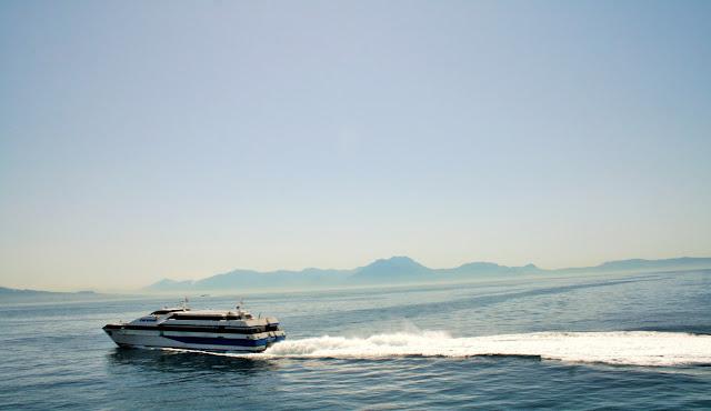 traghetto, mare, acqua, scia mare, isole, cielo