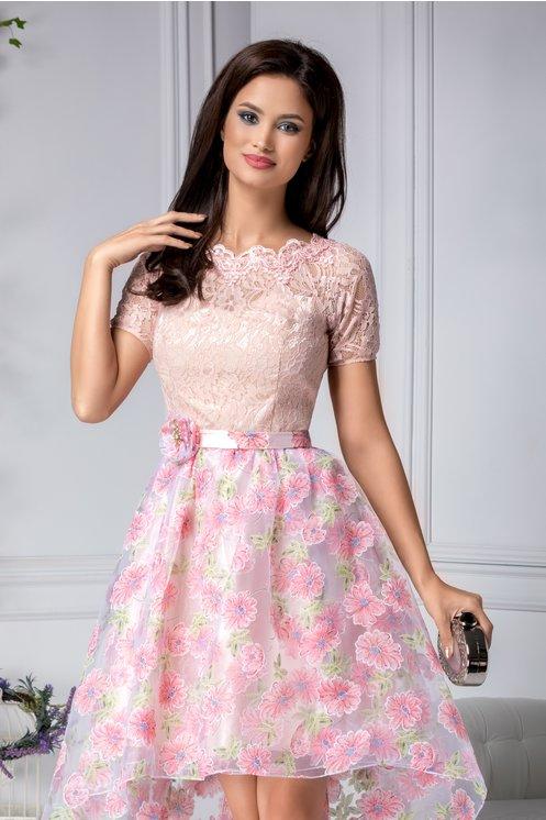 Rochie roz eleganta de ocazie din dantela florala si Imprimeu floral