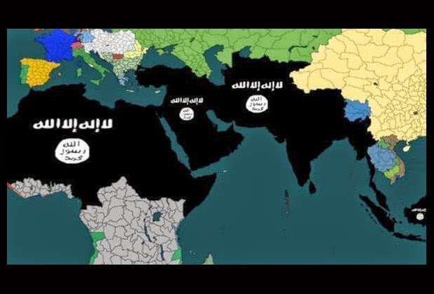 "ERETZ ISRAEL: ISIS: ""We are not on the border. We are here ... on south africa map, tunisia map, kuwait map, dubai map, iraq map, oman map, bangladesh map, germany map, yemen map, soviet union map, syria map, philippines map, singapore map, sudan map, japan map, morocco map, jordan map, ksa map, bahrain map, china map,"