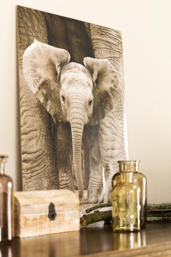 Blog + Fotografie by it's me! ... fim.works - Mein Shelfie im April, Holzkistchen, Elefanten-Bild, Apothekerflaschen