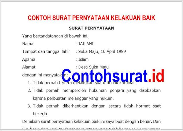 Permalink to Contoh Surat Pernyataan Kelakuan Baik